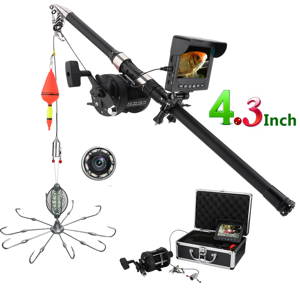 Fish Finders Gamwater 4.3 Inch Color Dvr Recorde Monitor Underwater Fishing Video Camera Kit 8 Pcs Ir Lights With Explosion Fishing Hooks
