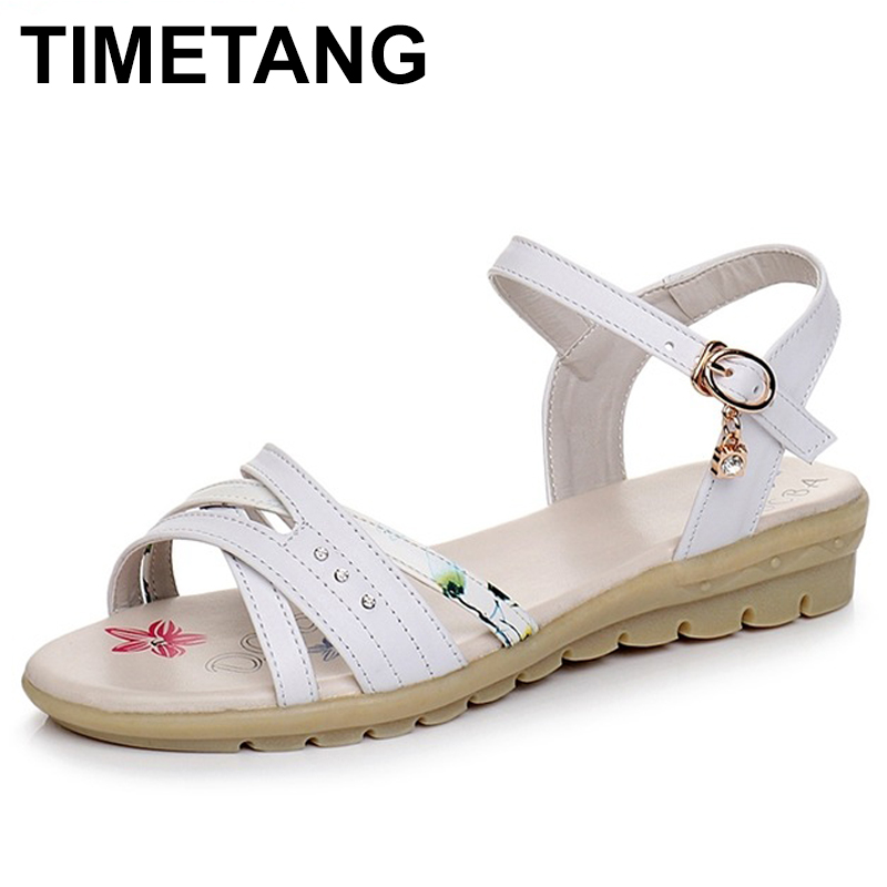 TIMETANG Plus size 34-43 New genuine leather sandals women shoes fashion flat sandals cow leather summer rhinestone ladies shoes aiyuqi 2018 spring new genuine leather women s sandals casual flat sandals women plus size 41 42 43 ladies sandals shoes women