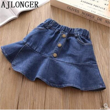 AJLONGER New Girls Summer Denim Skirts Jeans Rivet Skirt Baby Party Jean Children Kids Fashion Clothing