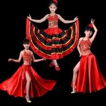 Испанский балетный костюм для девочек длинное красное фламенко Стиль платье для танцев бальный танец живота юбка для Девочка 180/360/540/720 градусов DL2874