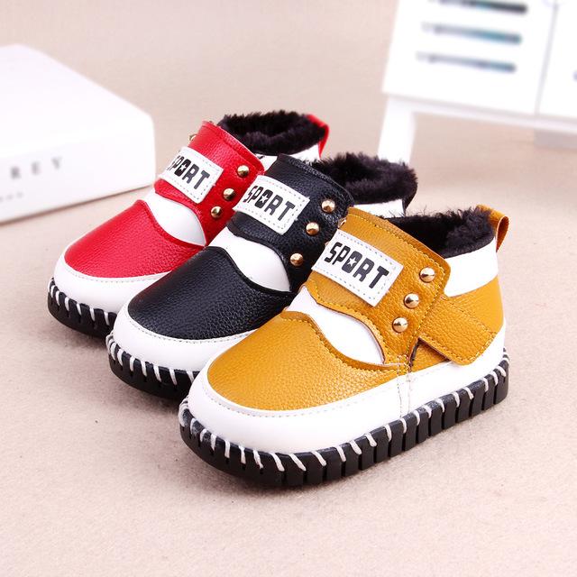 2016 zapatos de invierno botas de nieve bebé niños y niñas de la PU de cuero a prueba de agua zapatos calidez
