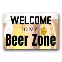 Entrance Floor Mat Non-slip Welcome to My Beer Zone Door Outdoor Indoor Rubber Non-woven Fabric Top 18 x 30 Inch