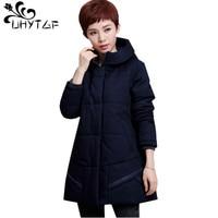 UHYTGF M 5XL plus size Parker womens fashion winter cotton jacket luxury down jacket warm outerwear Hooded Thicken Coat Women 52