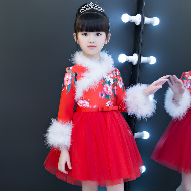 Children Kids New Year Chinese Traditional Red Color Qipao Ball Gown Dress Babies Birthday Evening Party Long Sleeves Warm Dress dress coat traditional chinese style qipao full sleeve cheongsam costume party dress quilted princess dress cotton kids clothing