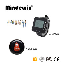 Mindewin Waterproof 20PCS Table Call Buttons M-K-1 and 2PCS Wrist Watch Pager M-W-1 Wireless Pagers Restaurant Waiter Calling