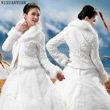 Akcesoria ślubne wysokiej jakości futra Bolero z długim rękawem Ivory kurtki ślubne ciepłe zimowe płaszcze ślub panny młodej płaszcz