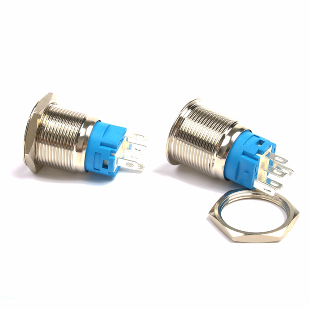 19mm flat Round head Waterproof Momentary Latching Metal Push Button Switch LED Light Car Horn Auto Reset switches Power in Switches from Lights Lighting