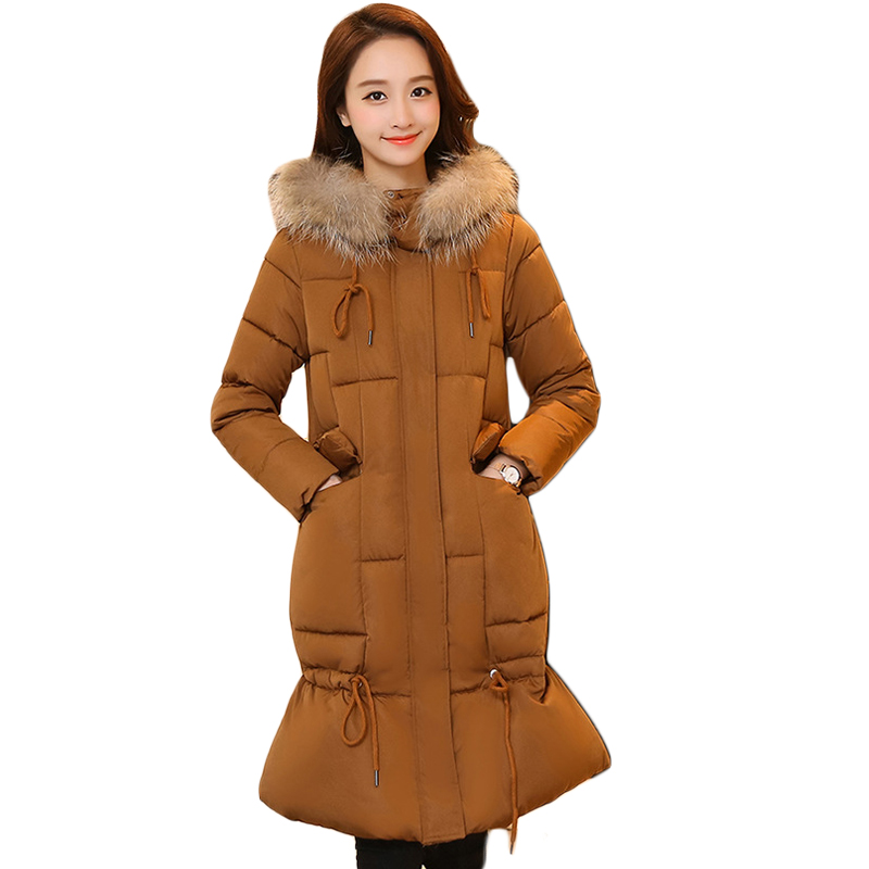 High Quality New 2017 Women Large Fur Hooded Winter Jacket Parkas Female Long Slim Elegant Mermaid Thicken Warm Coats CM1703 new winter jacket coats 2017 women parkas long slim thicken warm jackets female large fur collar hooded cotton parkas cm1350