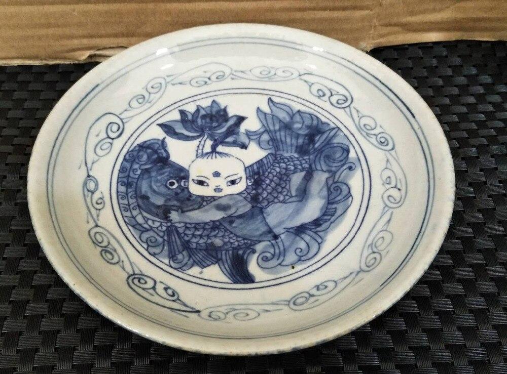 Ancienne porcelaine ancienne, porcelaine bleue et blanche, assiette garçon fleur de lotus, assiette pendule, collection vaisselle suspendue, étagère Antique,