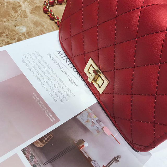 Women Bag Female Handbags Leather Over Shoulder Bag Crossbody Quilted Chain Diamond Red Small Flap Lock Fashion Sling Lady Bags 5