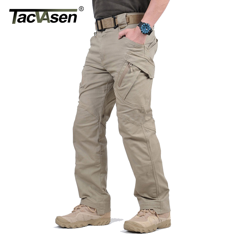 TACVASEN IX9 Men City Tactical Pants Multi Pockets Cargo Pants Military Combat Cotton Pant SWAT Army Casual Trousers JLTX-002-01(China)