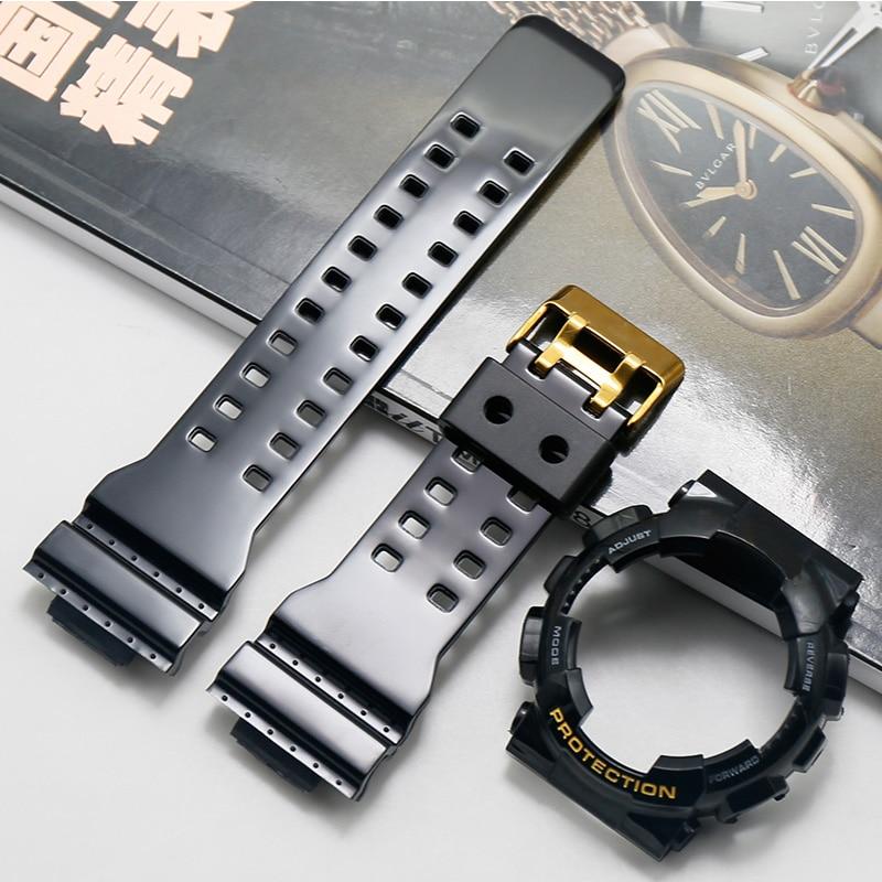 Watch Accessories For Casio Glossy Resin Strap GSHOCK GLS GD GA110 GA100 GD120 Men Sports Waterproof Strap Black Gold Suit Case