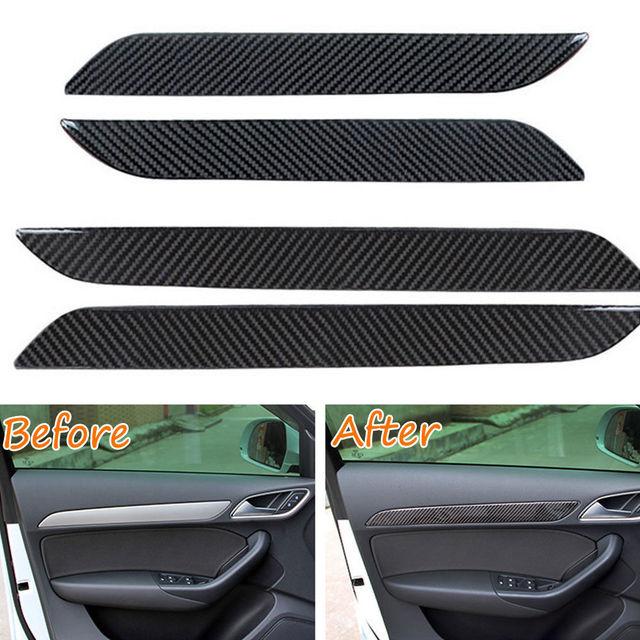 4pcs Carbon Fiber New Interior Car Door Panel Decor Frame Trim