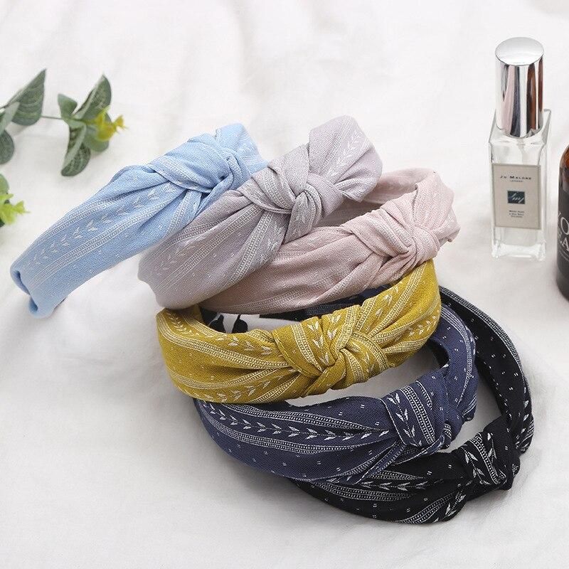 Women Girl Bowknot Wide Hairband Headband Fashion Hair Accessories Cloth Head Buckle Headscarf Broadside Head Hoop   Headwear