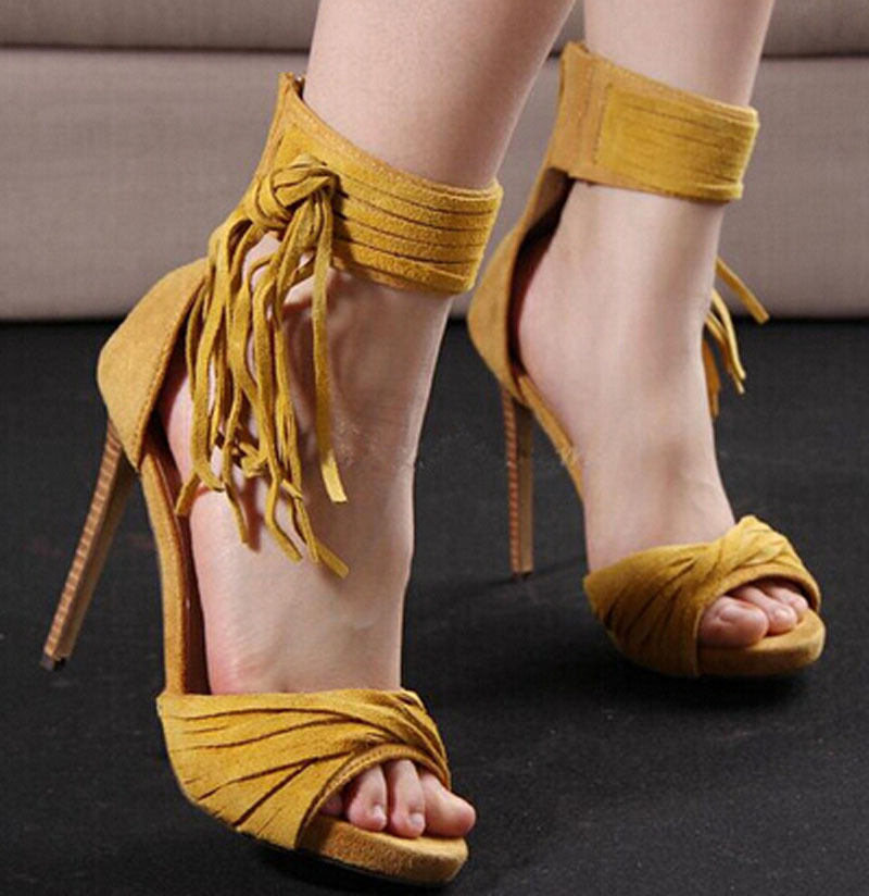 new fashion suede leather open toe ankle tassels gladiator sandal shoes fashion thin heel sandals new 2016 fashion suede