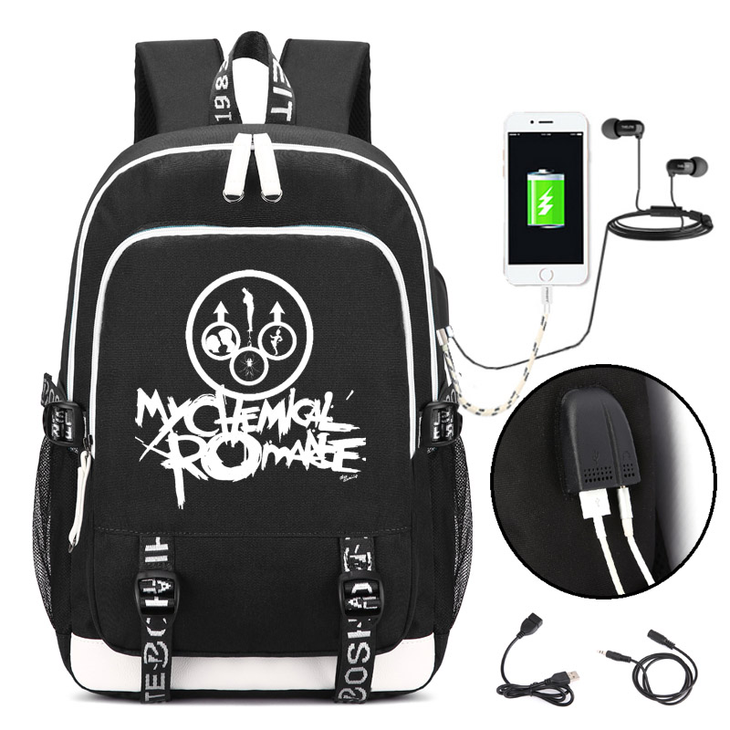 My Chemical Romance Punk Band Backpack With USB Charging Port And Lock &Headphone Interface For College Student Work Men & Women
