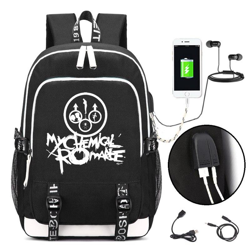 My Chemical Romance Punk bande Sac À Dos avec USB Port de Charge et Lock & Casque interface pour Collège Étudiant Travail Hommes et femmes