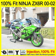 8Gifts Injection mold Body For KAWASAKI NINJA ZX-6R 00-02 1HM29 ZX 6R ZX6R 00 01 02 ZX636 636 2000 2001 2002 Fairing Green black