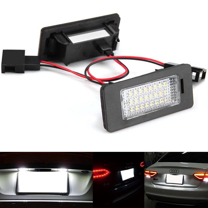 2x No Error LED rear number plate light For Audi Q5 A4 4D/5D A5 S5 TT car styling license plate lamps auto accessory parts