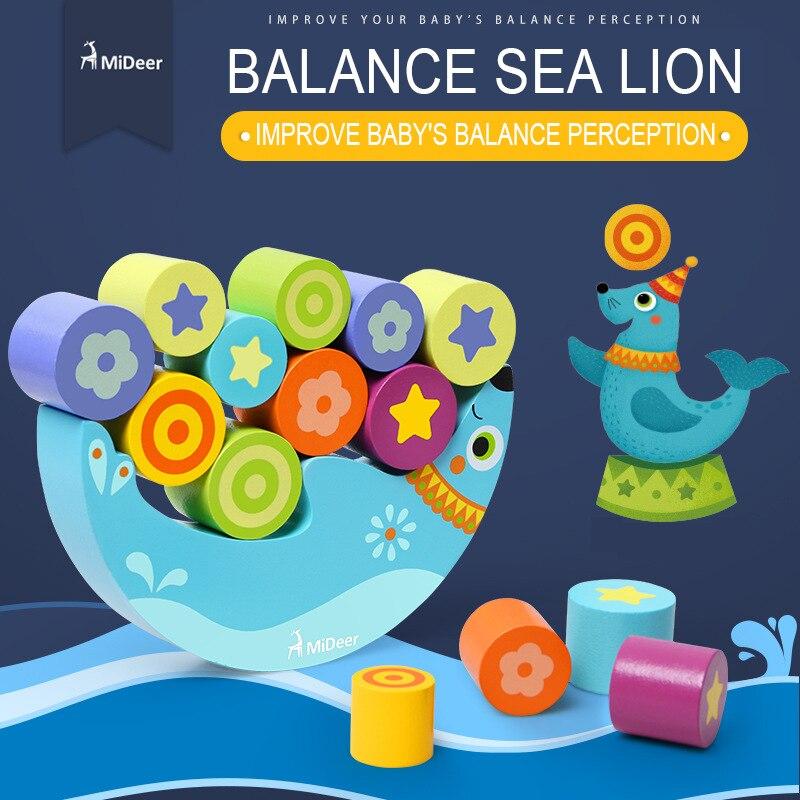 Micerf balance en bois lion de mer pile jouet balance jouet bébé jouet bloc de construction jouet 3Y +