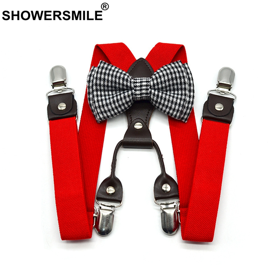 SHOWERSMILE Braces For Children Bowties Suspenders Set Unisex Kid Solid Red Boy Pants Strap 4 Clips Y Back Girls Suspenders 65cm