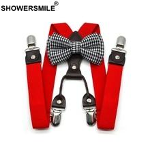 SHOWERSMILE Braces For Children Bowties Suspenders Set Unisex Kid Solid Red Boy Pants Strap 4 Clips Y Back Girls 65cm