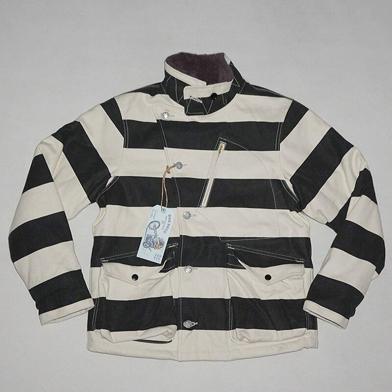 BOB DONG Winter Aviator Motorrad Gefängnis Gestreiften Jacke Für Männer Wolle Gefüttert Schwarz Und Weiß-in Jacken aus Herrenbekleidung bei  Gruppe 1