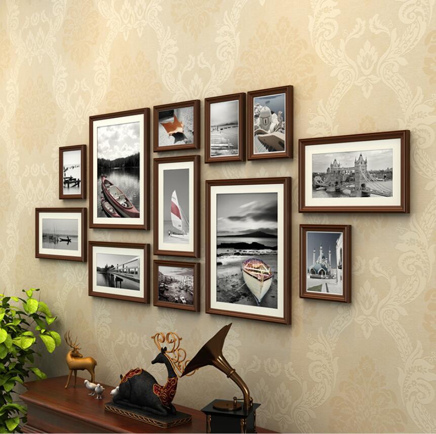 Favori 12 pcs/ensemble Avec Noir Mur Cadres Photo Ensembles, Vintage  WC13
