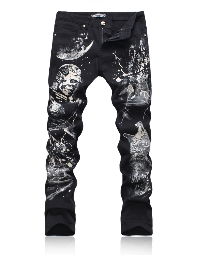 Hot sale  new fashion wolf painted black trouses classic slim pencil denim jeans new lone wolf and cub v 7