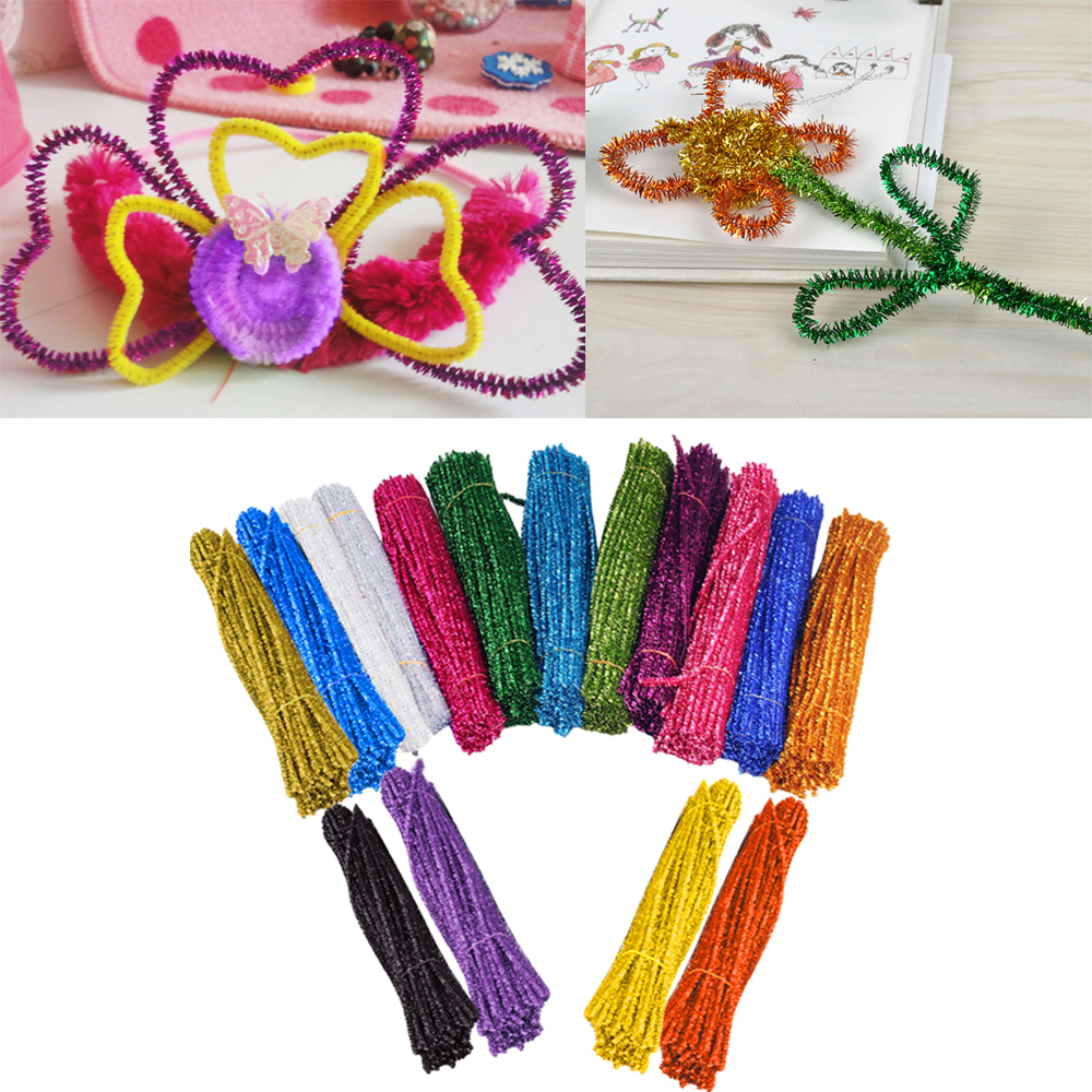 320 PCS 16 Color Colorful Glitter Tinsel Chenille Stem Pipe Cleaner for Childrens DIY Craft Wedding Home Party Holiday