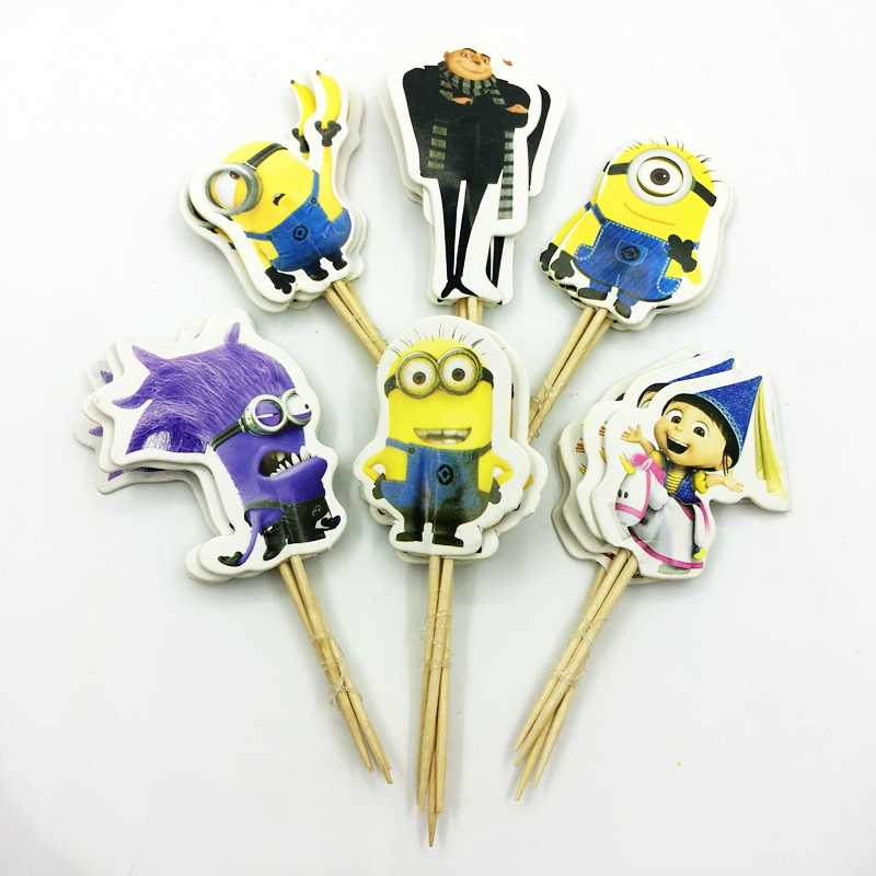 48pcs Cute Big Eyes Minions dad baby Cupcake Toppers Pick Kids Birthday Party Cake Decoration Baby Shower event Favor Supplies