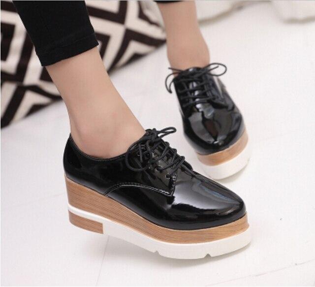 ac57c7560edd € 28.45  Los nuevos 2016 Zapatos Oxford de Charol Cuñas de Oro Plata  Zapatos de Plataforma Mujer Enredaderas Rosa zapatos de Tacón Alto de Alta  ...