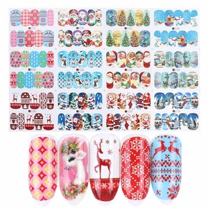 Image 5 - 12pcs Christmas Nail Stickers Water Decals Snowman Santa Clause Deer Nail Art New Year Slider Manicure Full Wraps Tool JIA/BN