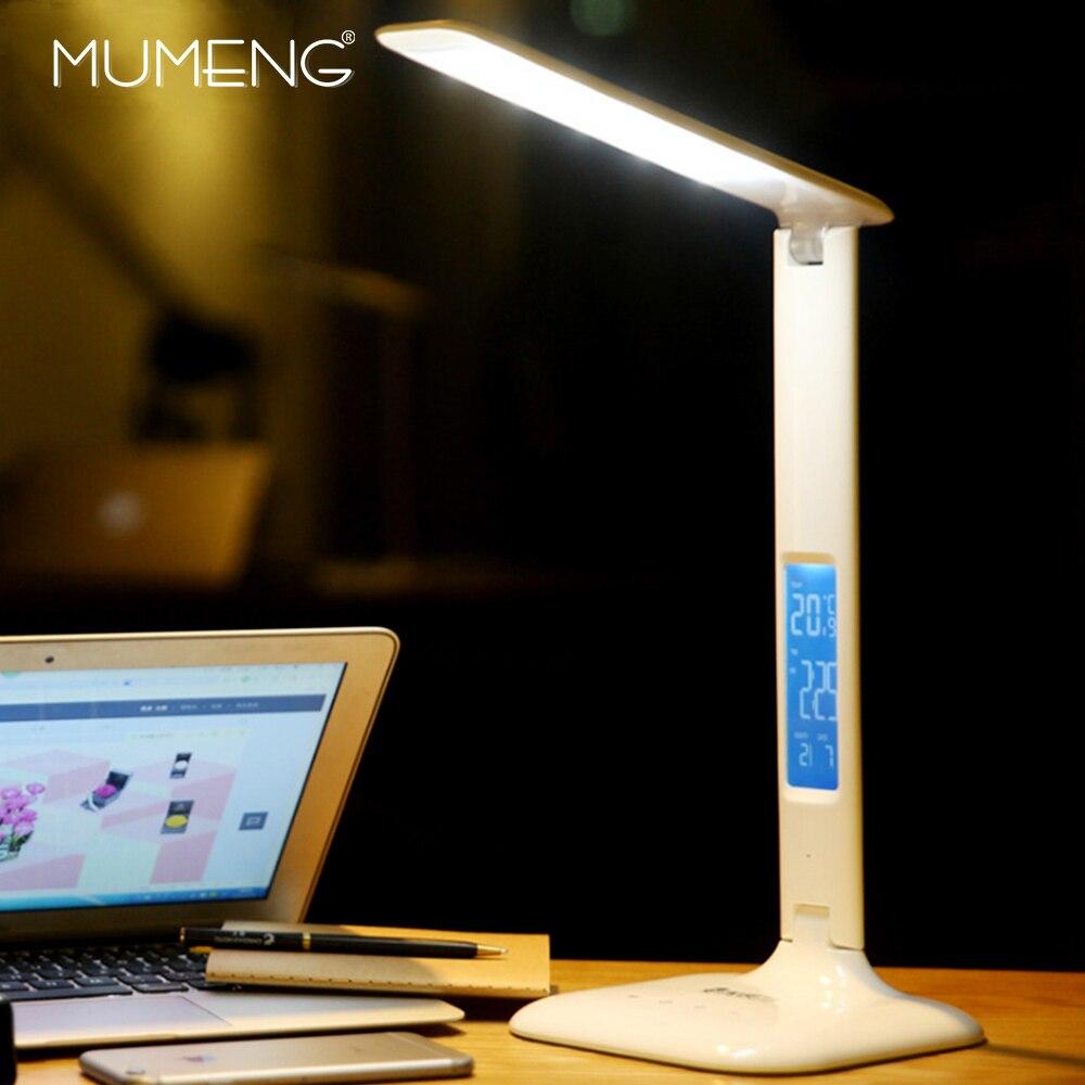 MUMENG светодио дный LED Настольная лампа с USB и ЕС Plug затемнения свет вечным календари цифровые часы складной современный настольные лампы