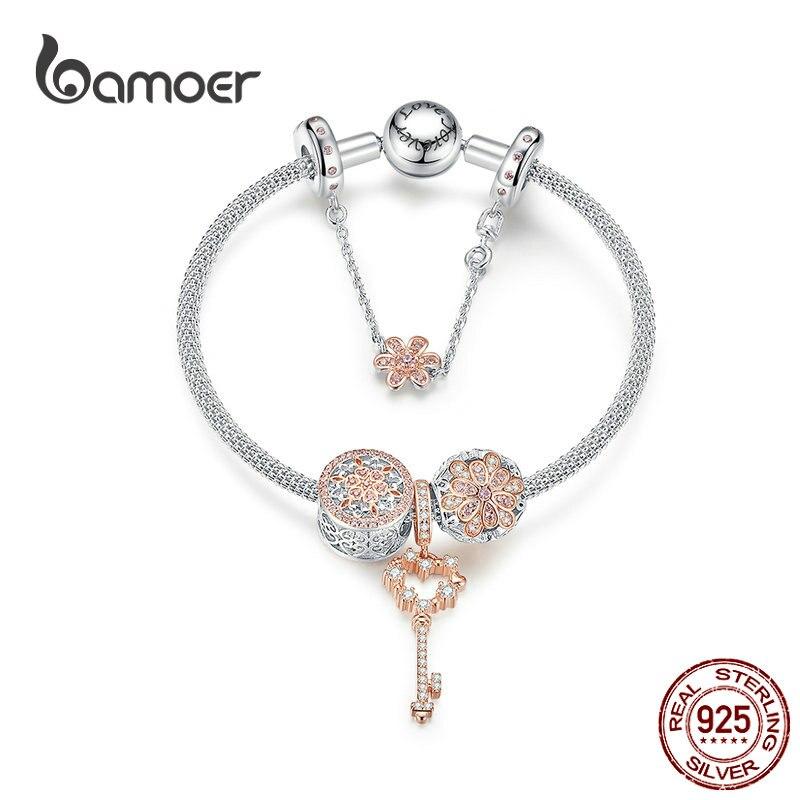 Bamoer or Rose couleur originale charme bracelets pour femme fleur Daisy amour clé pendentif breloques argent massif 925 bijoux SCB824