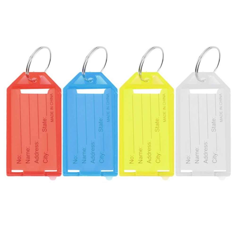 4Pcs Plastic Key Tags Key Rings ID Identity Tags Rack Name Card Label NEW Four Colors Available