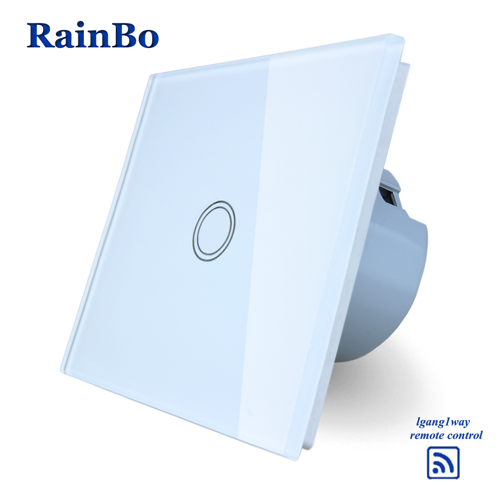 RainBo Remote Touch Smart  Switch Screen  Crystal Glass Panel  EU Wall Switch AC110~250V  Wall Light Switch LED Lamp A1913XW/B eu plug 1gang1way touch screen led dimmer light wall lamp switch not support livolo broadlink geeklink glass panel luxury switch