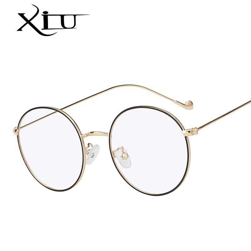 XIU Round Oval Sunglasses Women Men Computer Anti Blue Light Glasses Brand Designer Metal Eyeglasses Top Quality UV400