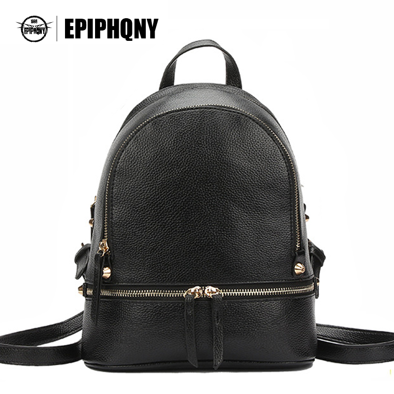 Epiphqny Simple Women PU Leather Litchi Small Backpack Daypack Fashion Minimalist Mini Bagpack Black Back Pack