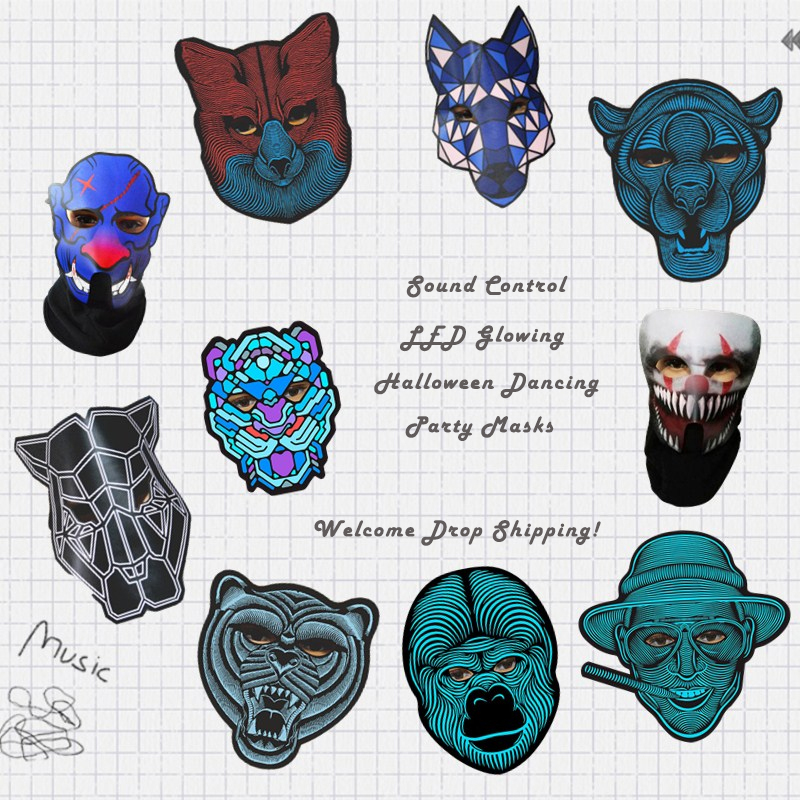 Halloween LED Light Airsoft Full-face Mask Voice LED Control Glowing Flash Cosplay Masks Disfraces Carnaval Party Supplies
