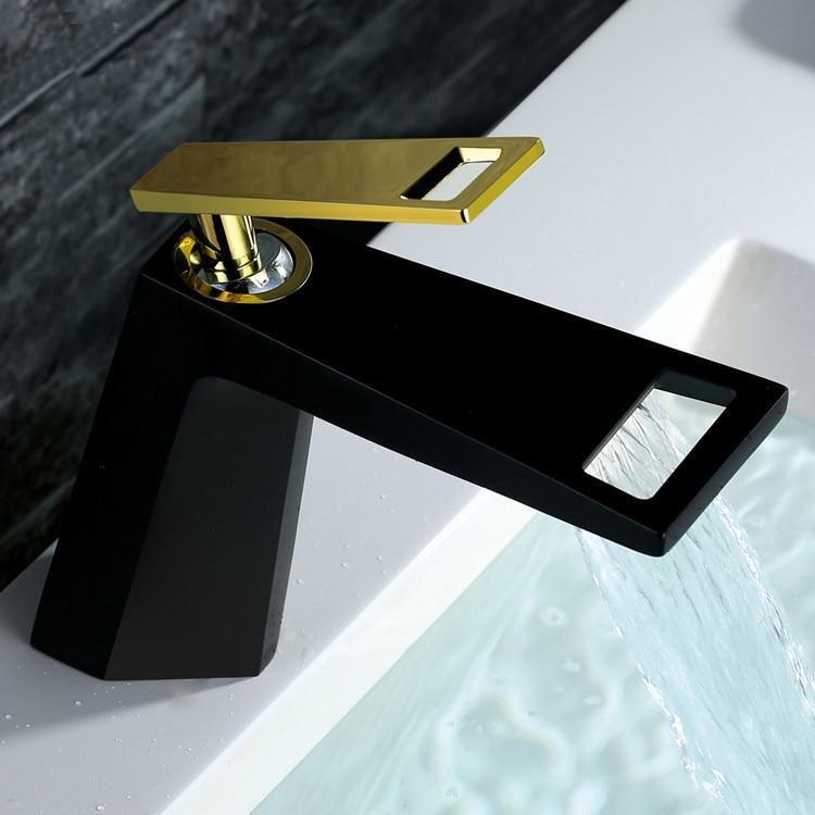 Accesorios de baño Grifolavabo De Baño Grifo De La Cubierta Grifos De Lavamanos Montados Monomando De Agua Fría Y Caliente Mezclador De Agua