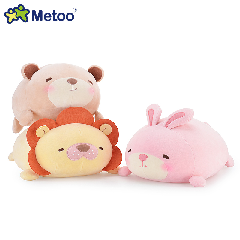 Kawaii 34cm Metoo soft plush puppy pillow toys Panda,rabbit,teddy bear,lion stuffed cushion pillow dolls kids toys 1pc 65cm cartion cute u shape pillow kawaii cat panda soft cushion home decoration kids birthday christmas gift