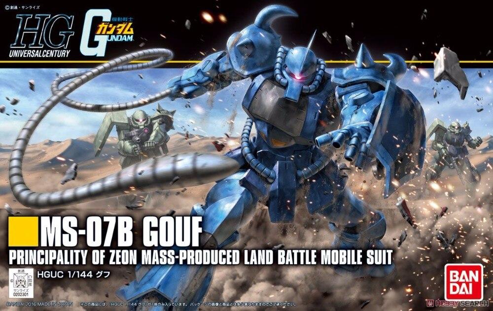 1PCS bandai HGUC 196 1/144 GOUF MS-07B Gundam Mobile Suit Assembly Model Kits Anime action figure lbx toys ohs bandai mg 179 1 100 sengoku astray gundam mobile suit assembly model kits