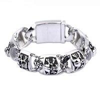 New hip hop punk wind bracelet men titanium steel bracelet rough section skull head ornaments