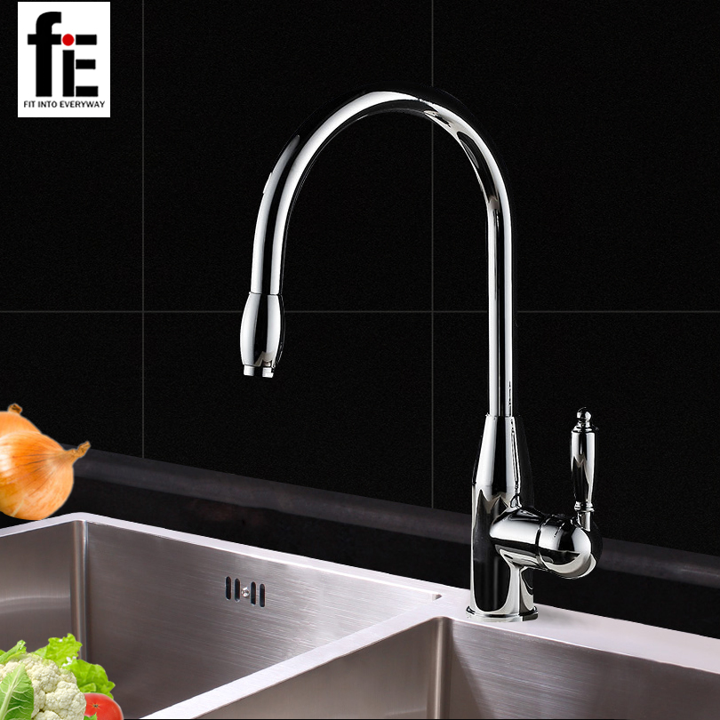 fiE Kitchen Faucet Pull Out Hot and Cold Water Kitchen Sink Mixer Tap Swivel Spout free shipping pull out spray head kitchen faucet mixer tap swivel spout cold hot brass chrome sink faucet water tap wholesale