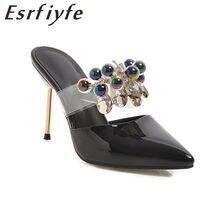 5d89f4581 ESRFIYFE 2019 Novas Verão Finos Saltos Altos Mulheres Chinelos Moda Festa  Sapatos de Cristal Do Dedo