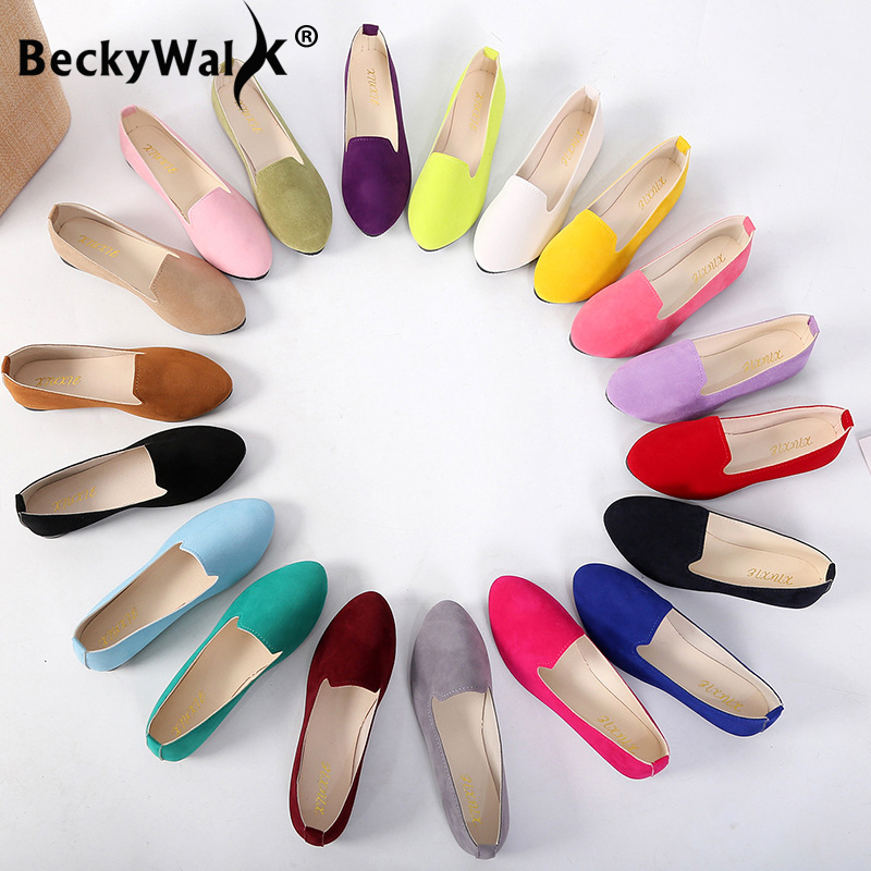 2019 Spring Ladies Shoes Women Flats Shoes Woman Slip On Candy Color Suede Work Loafers Autumn Casual Women's Shoes WSH2216