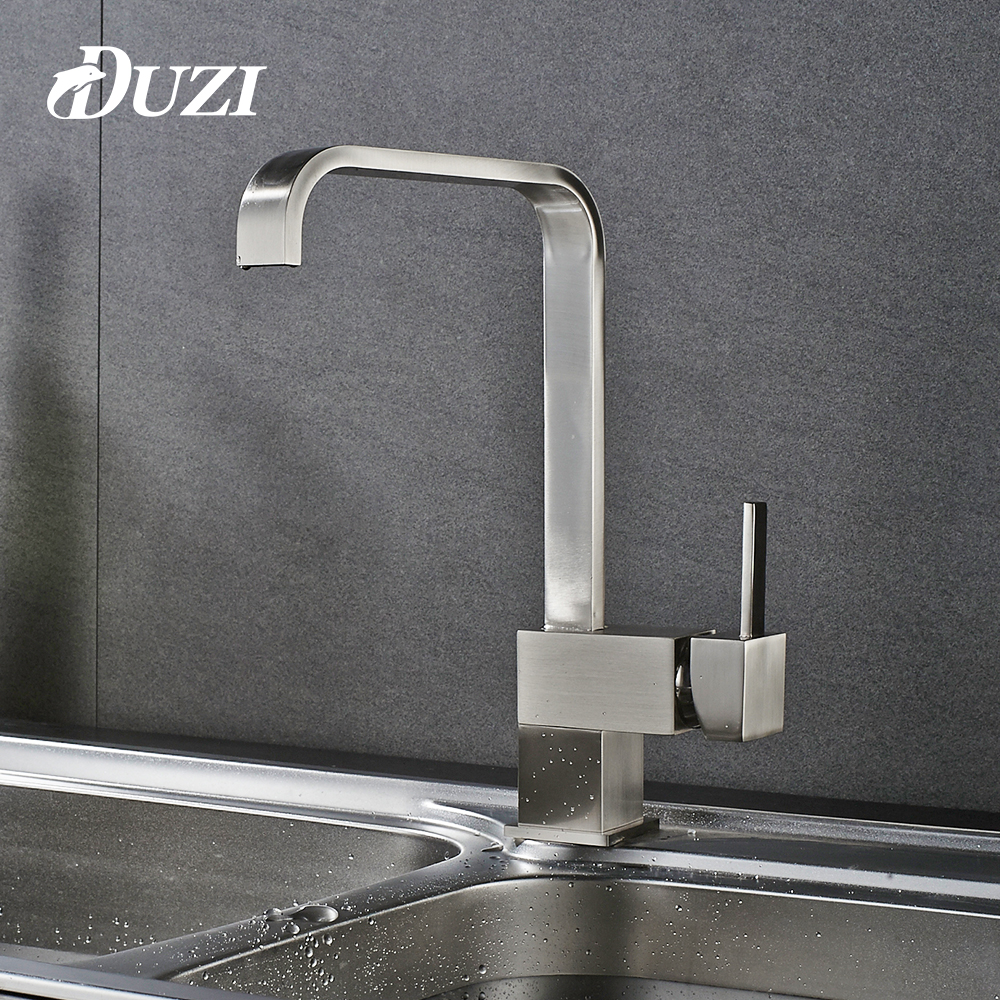 DUZI Kitchen Faucets Crane Nickel Brushed Deck Mounted Waterfall Mixer Tap Cold and Hot Swivel Kitchen Tap Torneira Cozinha gappo kitchen sink mixer tap kitchen faucet mixer single hole deck mounted kitchen faucets tap mixer crane torneira para cozinha