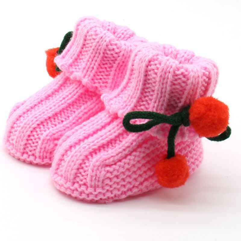 Newborn Infant BebeToddler Girls Winter Warm Crochet Knit Fleece Booties Newborns Bow Snow Shoes Baby Walker Crib Boots