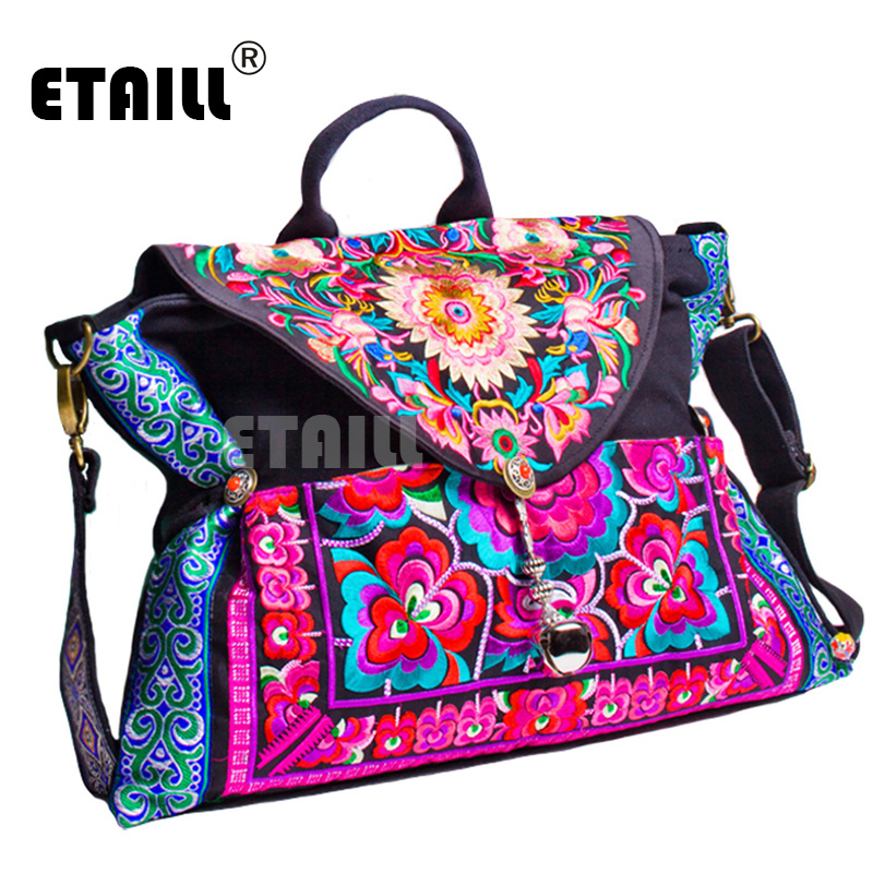 2016 New Vintage Boho Hmong Beads Ethnic Embroidered Bag Shoppers Bag Women's Shoulder Messenger Bag Sac Femme Bordado Bolsa chinese hmong boho indian thai embroidery brand logo backpack handmade embroidered canvas ethnic travel rucksack sac a dos femme